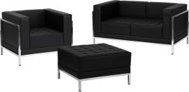 Marvelius Fanchon Series Black Leather Loveseat, Chair & Ottoman Set