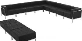 Marvelius Fanchon Series Black Leather Sectional & Ottoman Set, 12 Pieces