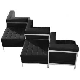 Marvelius Fanchon Series Black Leather 5 Piece Chair & Ottoman Set
