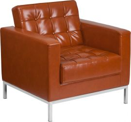 HERCULES Hammock Series Contemporary Cognac Leather Chair with Stainless Steel Frame