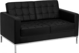 HERCULES Hammock Series Contemporary Black Leather Loveseat with Stainless Steel Frame
