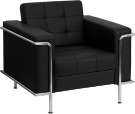 Marvelius Lesleigh Series Contemporary Black Leather Chair with Encasing Frame