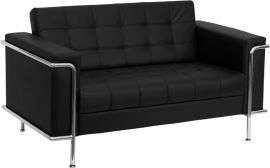 Marvelius Lesleigh Series Contemporary Black Leather Loveseat with Encasing Frame