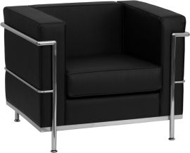 Marvelius Rebecca Series Contemporary Black Leather Chair with Encasing Frame