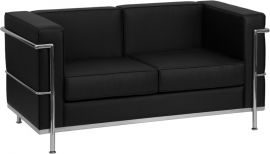 Marvelius Rebecca Series Contemporary Black Leather Loveseat with Encasing Frame