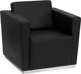 Marvelius Trine Series Contemporary Black Leather Chair with Stainless Steel Base
