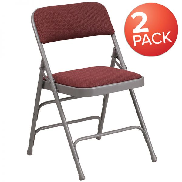 2 Pk. Marvelius Series Curved Triple Braced & Double Hinged Burgundy Patterned Fabric Metal Folding Chair